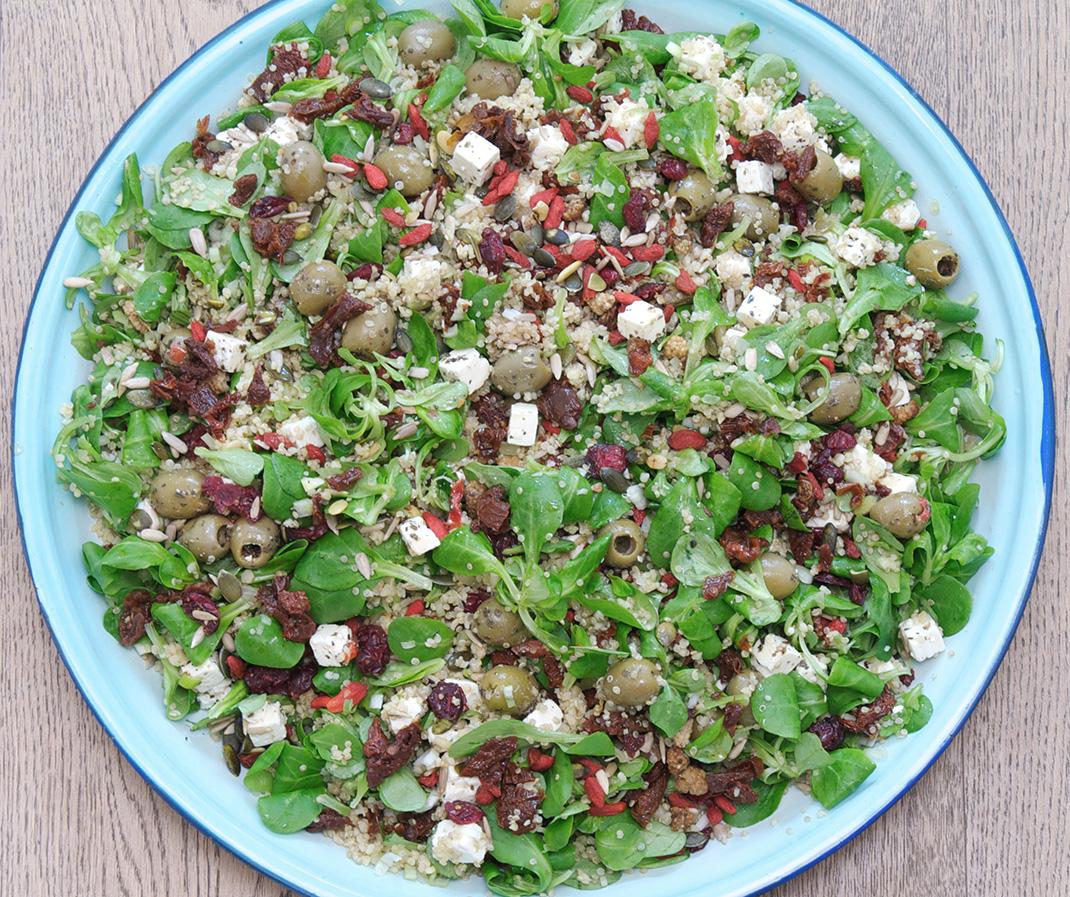 Bulgur/Quinoa salad with pita/tzatziki
